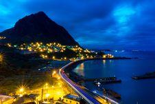 Free Coastal City At Night Royalty Free Stock Photography - 82955677