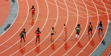 Free Women Standing On Race Track While Preparing For A Run Race During Daytime Royalty Free Stock Photos - 82956578