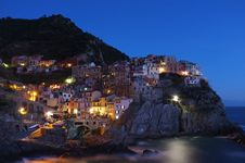 Free Manarola At Night Royalty Free Stock Photos - 82956968