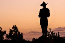 Free Cowboy Silhouette At Sunset Royalty Free Stock Photo - 82957975