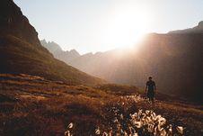 Free Man Walking On Mountain Stock Photography - 82958822