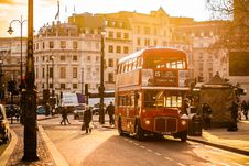 Free Red Double Decker Bus On Street Near People Royalty Free Stock Images - 82959529