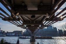 Free Underside Of Millennium Bridge Over River Thames, London, England Royalty Free Stock Photography - 82959737