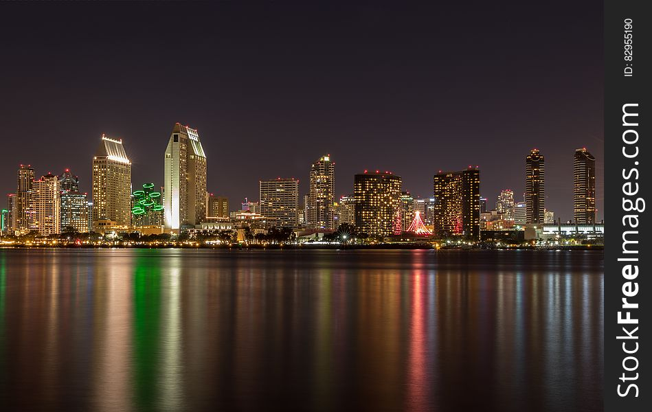 Waterfront skyline at night