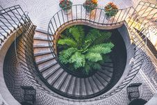 Free Spiral Staircase Outside Looking Down At Plants Daytime Royalty Free Stock Photography - 82960437