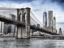 Free Brooklyn Bridge, NY With Manhattan Skyline Stock Photography - 82960532