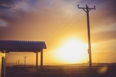 Free Electric Post And Waiting Shed During Sunset Stock Images - 82960724