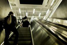 Free People Walking Up On Escalator Royalty Free Stock Image - 82961046