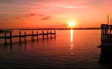 Free Bright Orange Sunset Reflecting On The Sea  Stock Image - 82961181