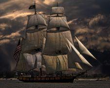 Free Sailing Ship Against Dark Skies Royalty Free Stock Photo - 82961185