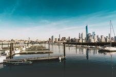 Free Yacht Marina With City Skyline In Background Stock Photos - 82962503