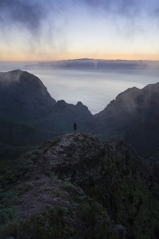 Free Hiker On Mountain Top Stock Photos - 82962603