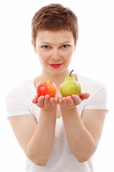 Free Woman Holding Red Apple And Green Peach Stock Photos - 82962663