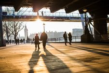 Free Couples Walking Along South Bank, London Stock Photography - 82962832