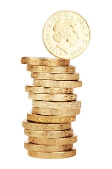 Free Stack Of British One Pound Coins Stock Images - 82962954