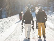 Free Hikers On Snowy Path Stock Images - 82963014