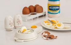 Free Hellmanks Glass Jar Beside White Egg Rack Stock Photo - 82963170