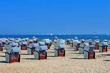 Free Folded Beach Chairs On Baltic Sea Royalty Free Stock Photo - 82963545