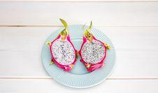 Free Sliced Dragon Fruit On Plate Stock Photos - 82963733