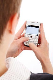 Free Man Using Blackberry Royalty Free Stock Photography - 82964037