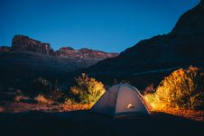 Free Camping Tent Of Dessert Under Deep Blue Sky Stock Photography - 82965132