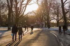 Free People On Walkway In Winter Royalty Free Stock Image - 82965306