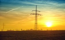 Free Electric Pole In Field At Sunset Royalty Free Stock Photo - 82965985