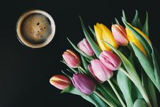 Free Purple Pink And Yellow Flowers Near Cup Of Coffee Royalty Free Stock Image - 82966276