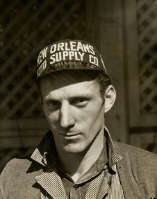 Free Black And White Photo Of Man Wearing New Orleans Supply Hat Royalty Free Stock Photos - 82974488