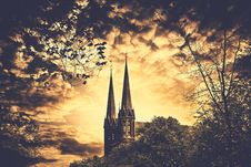 Free 2 Spire Building And Trees Painting Stock Image - 82975011