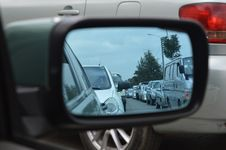 Free Car Side Mirror Showing Heavy Traffic Royalty Free Stock Images - 82976649