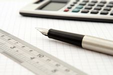 Free Shallow Focus Of Silver And Black Fountain Pen Beside Ruler And Scientific Calculator Royalty Free Stock Image - 82976836