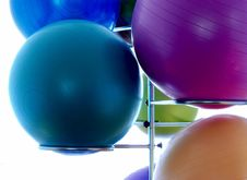 Free Blue Exercising Ball On Stainless Steel Exercising Ball Rack Stock Images - 82977444