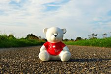 Free Teddy Bear On Stone Road Royalty Free Stock Photos - 82977458