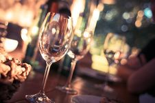 Free Wine Glass On Restaurant Table Stock Images - 82977764