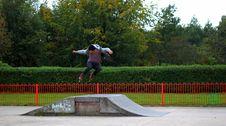 Free Man Jumping On Rollerskates Ramp Royalty Free Stock Photography - 82977927