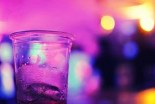 Free Glass On Bar In Purple Light Royalty Free Stock Photography - 82978157