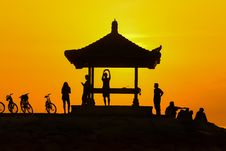 Free Shelter On Hill Top At Sunset Royalty Free Stock Images - 82978359