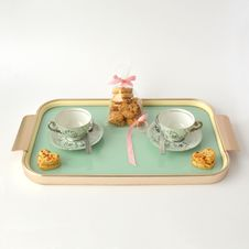 Free Tray With Coffee Cups And Cookies  Royalty Free Stock Images - 82978979