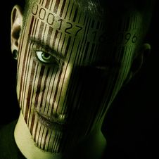 Free Man S Face With Barcode Stock Image - 82979881