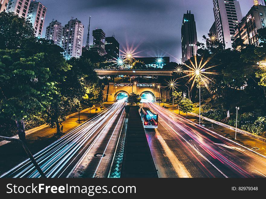 Highway through city at night
