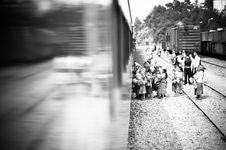Free People Boarding The Train Stock Photo - 82980500