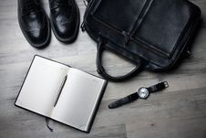 Free Black Shoes Briefcase And Journal Stock Photos - 82981503