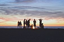 Free Beach Bonfire At Sunset Royalty Free Stock Image - 82983736