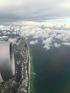 Free Airplane Engine Over Waterfront Stock Photos - 82983783