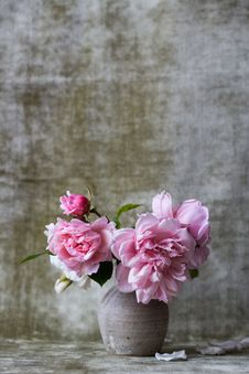 Free Pink Flowers On White Ceramic Vase Stock Images - 82983934