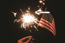 Free American Flag And Sparkler Royalty Free Stock Photography - 82984927