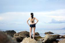 Free Woman On Sea Rock Stock Image - 82984991
