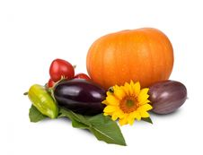 Free Orange Pumpking Purple Eggplant And Sunflower Stock Photography - 82985382