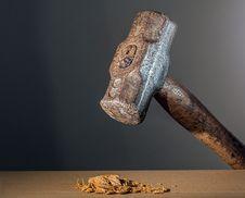 Free Hammer Crushing Nuts Stock Image - 82985421